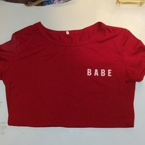 """BABE"" T-Shirt, Red, Small"